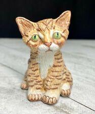 Vintage Basil Matthews Brown Striped Tabby Cat Hand Carved Sculpture Figurine