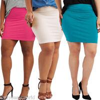 NEW Womens Midi Pencil Skirt Ladies Plain Jersey Bodycon Tube Skirt Plus Sizes