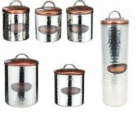 Copper Lid Canisters Storage Jars for Tea Coffee Sugar Pasta Biscuits Bread Bin