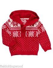 NEW Gymboree JOYFUL HOLIDAY Baby Boy 12 18 mo Snowflakes Fair Isle Hood Sweater