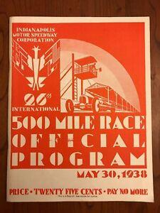 May 30 1938 Indianapolis 500 (Floyd Roberts) Official Program Reprint 1983