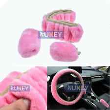 Plush Fur Fluffy Car Steering Wheel Cover Handbrake Protector Gear Knob 3pcs