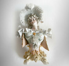 Bisque woman bust figurine in period dress with lace - FREE SHIPPING