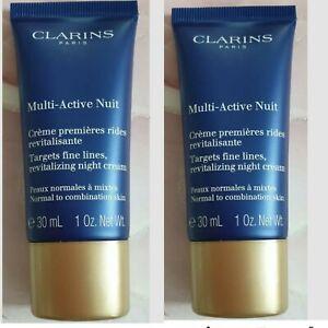 2 X CLARINS MULTI ACTIVE NIGHT REVITALISING NIGHT CREAM 30mls SEALED