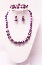 8/12mm Burgundy Glass Pearl & Rondelle Crystal Necklace/Bracelet & Earrings Set