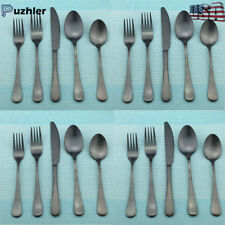 Durable Black Stainless Steel Flatware Service for 8 Include Knife Fork Spoon