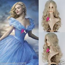 New Disney Princess Cinderella Long Halve Curly Ash Movie Cosplay Wig