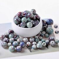 Ceramic Beads Handmade Round Porcelain Jewelry Bracelet Making Craft DIY 50pcs