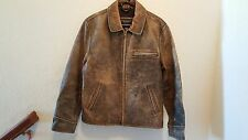 Mens American Eagle Outfitters Distressed Leather Bomber Motorcycle Jacket Med