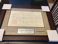 President James Madison Signed Document Autograph AUTO Framed Land Grant JSA