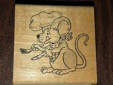 MOUSE CHEF HAT COOKING SPOON FORK LICKING LIPS Wood Mounted Rubber Stamp