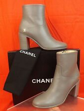 16A NIB CHANEL GREY LEATHER GOLD TONE CC LOGO ZIP ANKLE BOOTS 36.5 $1325 ITALY