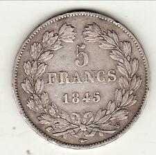 LOUIS PHILIPPE  5 FRANCS ARGENT 1845 W TTB +