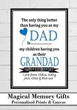 Dad Fathers day grandad pops father gramps personalised love print gift a4