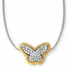 NWT Brighton MASSANDRA BUTTERFLY Crystal Gold & Silver Pendant Necklace MSRP $52