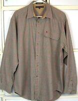 TOMMY HILFIGER Dress Shirt Black White Red Check Size Large Brushed Cotton   #79