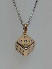 18K WHITE & ROSE GOLD  MIRABELLE PLAYERS CLUB DICE CUBE DIAMOND PENDANT NECKLACE