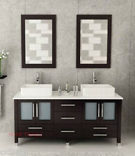 """72"""" Double vesse lSink Bathroom Vanity Espresso cabinet with mirrors & faucet 37"""