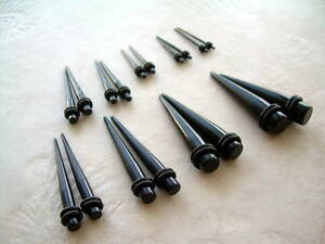 PAIR 2 PIECES BLACK Acrylic Ear Taper Plug Stretcher Expander Gauge U Pick Size