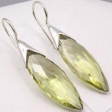 """925 Sterling Silver Fancy LEMON QUARTZ LONG Gem FACTORY DIRECT Earrings 1.7"""""""