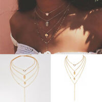 Women's Boho Multilayer Gold Plated Chain Pendant Choker Necklace Jewelry