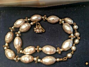 """Vintage Signed Miriam Haskell Baroque Pearl Glass Necklace Flower Clasp 17"""" long"""