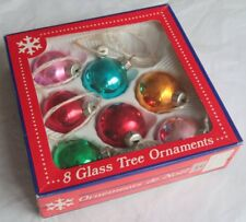 Boxed Set of 7 GDR Coloured Glass Christmas Tree Ornaments / Baubles