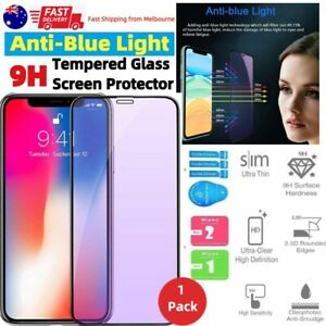 Anti BLUE Light Filter Glass Full Screen Protector Apple iPhone 12 Pro Max XS 8