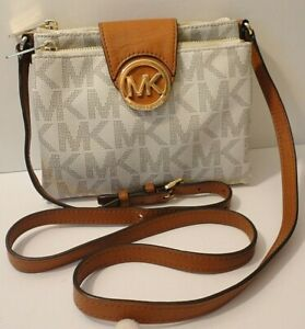 Michael Kors Fulton MK Logo Print Leather Trim Crossbody Shoulder Purse Bag