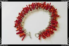 Coral RED Charm BRACELET - Handcrafted DELICATE Fringe - SEED & Small BEADS-OOAK