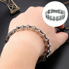 US_ Titanium Steel Men's Bracelet Bike Link Chain Wristband Bangle Jewelry