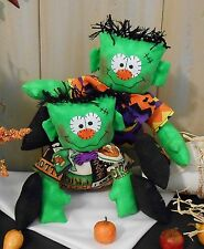 PATTERN Primitive Raggedy Halloween Frankenstein Cloth Doll Holiday Folk Art 101