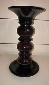 "Large Purple Plum Glass Pedestal Pillar Candle Holder 10"""