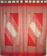 Traditional Indian Paisley Window Curtains - 2 Woven Jamawar Tab Top Panels 90""