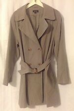 Vintage Women's Brooks Brothers Gray Trench Coat With Belt XL