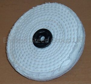 "6"" Stitched White Cotton Buffing Wheel 150mm x 13mm  Firm Polishing Mop  C150/1"