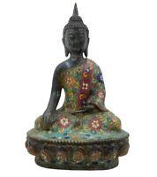 Siddharta Buddha Figur Cloisonné (29cm) Shakyamuni Bronze Statue AsienLifeStyle