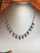 Estate Sterling Silver 925 Pink Pearl Bead Drop Dangle Delicate Necklace
