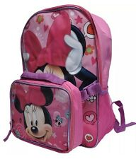 """Disney Minnie Mouse Girls 16"""" Cargo School Backpack with Detachable Lunch Bag"""