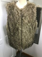 TU Brown Faux Fur Gillet Size 14 Buttonless Sleeveless Autumn Winter Jacket