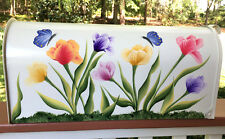 Hand Painted Mailbox Post Mount Decorative Flowers TULIPS & BUTTERFLIES