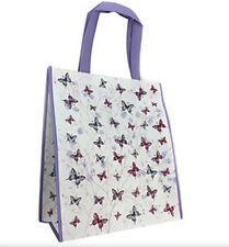 Butterfly Themed Shopper bag white background and purple trim