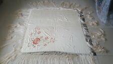 Antique Chinese Hand Embroidery Piano Shawl cream multicolor117x117+ Fringe 46cm