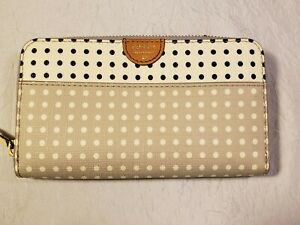 NWOT Fossil Issue No.1954 White * Gray polka dots Leather TRM Zip Clutch Wallet