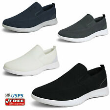 Mens Breathable Loafers Slip On Casual Shoes Knit Comfort Walking Shoes