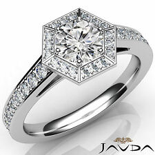 Hexagon Pave Set Round Diamond Engagement Ring GIA G VS2 18k White Gold 1.23Ct
