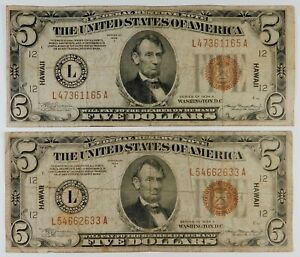 1934-A $5 Federal Reserve Hawaii Currency Banknotes - 2 Examples