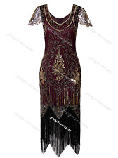 Deluxe 1920s Flapper Costume Gatsby Party Evening Prom Cocktail Dress Plus Size Burgundy Dresses L AU 14-16 / US 12-14