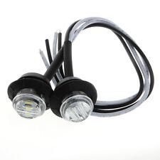 """2X Mini 3/4"""" 3 LED Round Side Marker Trailer Car Bullet Light Waterproof White"""