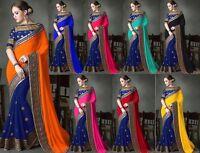 New pakistani indian bollywood designer Sari georgette embroidery fancy saree MA